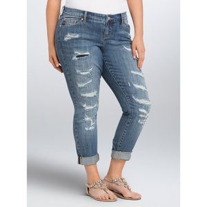 Torrid Boyfriend Distressed Patched Jeans